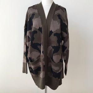 Alison Andrews Plus Open Front Camouflage Cardigan